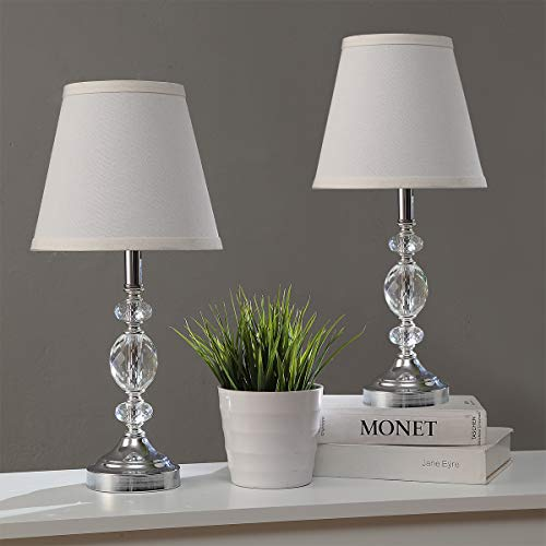 Pauwer Juego de lámpara de mesa de cristal transparente moderno con 2 dormitorios, mesita de noche, lámpara de mesa cromada con pantalla de tela (Blanco)