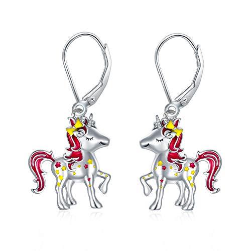 """Bonitos pendientes de unicornio para niñas, aretes colgantes de plata adorables regalos de cumpleaños, joyería de plata """"My little Unicorn"""" regalo para niñas, regalo para hija con caja de regalo"""
