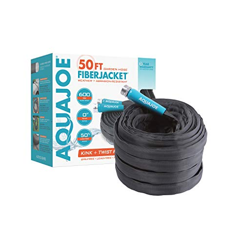 AQUAJOE AJFJH50-58-PRO FiberJacket Non-Expanding Kink-Free Garden, RV, Marine and Camper Hose, Ultra-Lightweight, Drinking Water Safe, ft, 50-Feet x 5/8-Inch