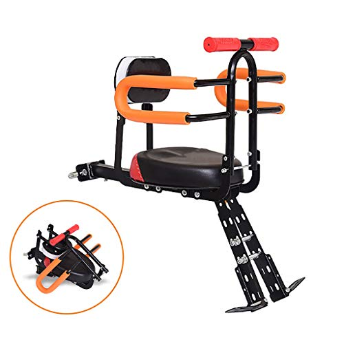 Fantastic Prices! ELSP Foldable Front Mount Child Bicycle Seat with Adjustable Pedal and Support Back, Baby Children Bike Front Safety Seat Bicycle Accessories – Max 40KG
