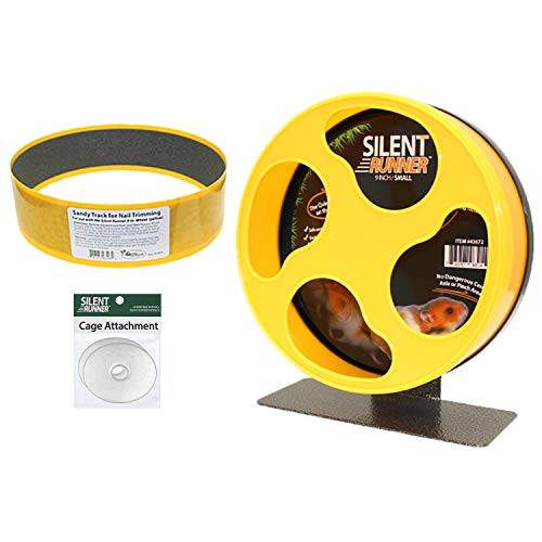 Silent Runner 9' + Sandy Track + Cage Attachment - Pet Exercise Wheel Package Set - For Robo Hamsters, Syrian Hamsters, Teddy Bear Hamsters, Dwarf Hamsters, Gerbils, Mice And Other Small Pets