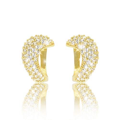 PAVEL´S festliche Damen Creole GLAMOUR Ohrringe 18 Karat Gold plattiert glänzend mit echten Zirkonia mit Schmuckbox & Echtheits-Zertifikat