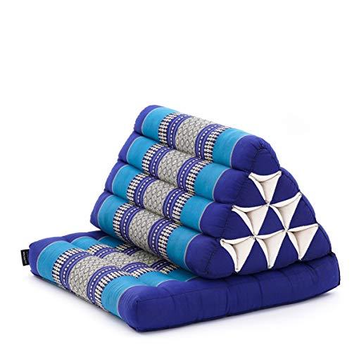 LEEWADEE colchón Plegable con un segmento – Futón con cojín Hecho a Mano de kapok ecológico, colchoneta tailandesa Ancha, 75 x 50 cm, Azul