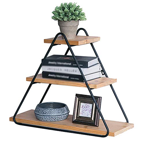 Drijvende Wandplanken Retro Industriële Klassieke Driehoek Ontwerp Display Stand Metaal Hout Kleur Multifunctionele Opslag Racks, BGJ 60x20x48cm Zwart