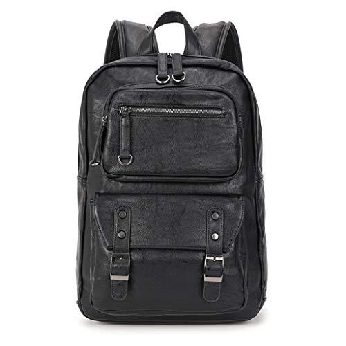 Mochila de poliuretano de gran capacidad, para mujeres, hombres, negocios, viajes, escuela, mochila con color negro