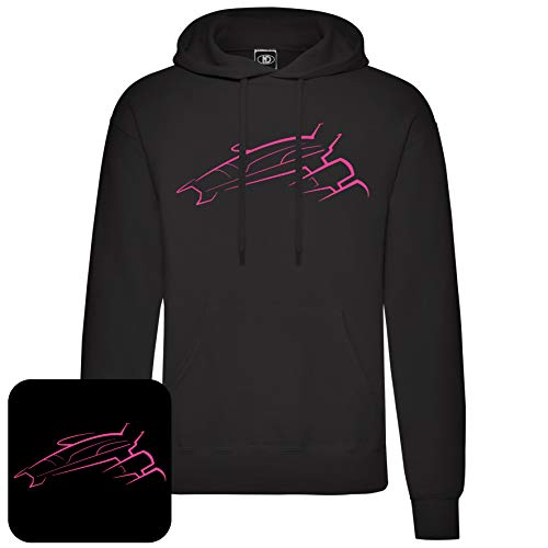 Nicram Designs Normandy Ship Pullover Hoodie (XL, Pink Logo)