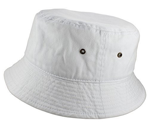 Gelante 100% Cotton Packable Fishing Hunting Summer Travel Bucket Cap Hat 1900-White-L/XL