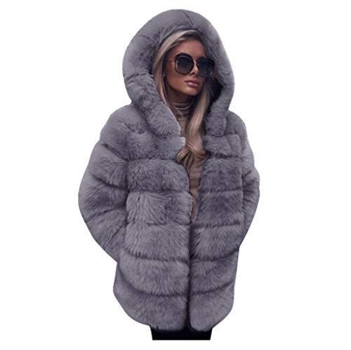 Bumblebee Damen Elegant Wintermantel Winterjacke Mittellang Winter Jacket Outwear Sweatjacke Damen Kunstpelzmantel mit Kapuze Plüschjacke Kapuzenpullover Damen Warm Mantel Sweatshirt Pullover Pulli
