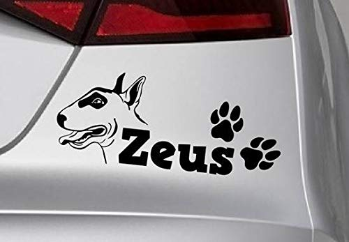 Muursticker Zwemmen Gepersonaliseerde Paw Dog Naam Pitbull Hond voor auto Sticker