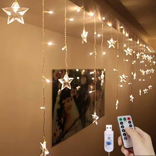LED Curtain Lights USB Starry Fairy Lights 1.5m * 0.5m 8 Modes Remote Control Stars String Lights for Wedding Bedroom Party Window Home Decoration