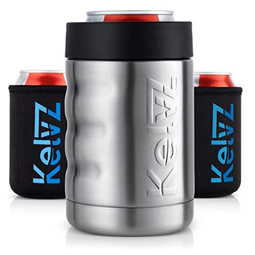 KelvZ Finger Grip Insulated Can Cooler + 2 Can Coolies | 18/8 Stainless Steel Beer Holder Fits 12 oz Cans & Bottles | Insulated Can Holder | Beer Can Insulator | Bottle Keeper | Can Keeper (Stainless)
