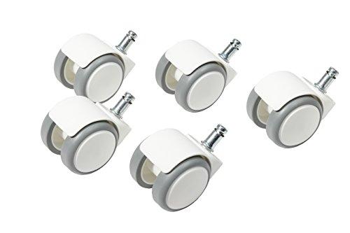 Topstar Ruedas para suelo duro (juego = 5 ruedas), aptas para Topstar S'Neaker, diámetro de la rueda: 50 mm, tamaño del bolígrafo: 10 mm, plástico, color blanco/gris
