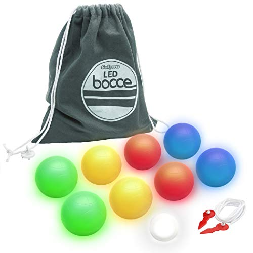 GoSports 85mm LED Bocce Ball Game Set - Includes 8 Light Up Bocce Balls (8.5oz Each), Pallino, Case and Measuring Rope