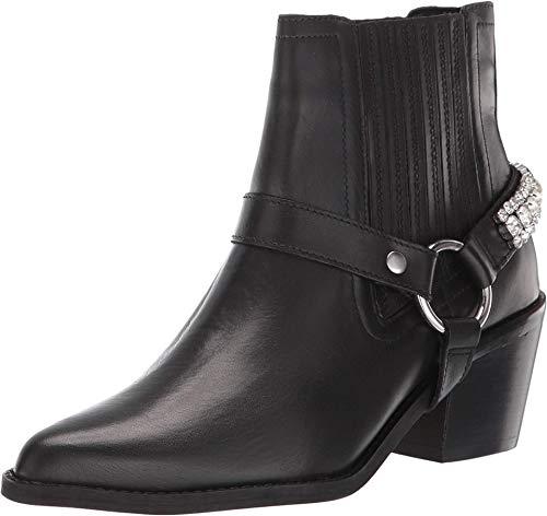 Kurt Geiger Sylvie Crystal Echtleder-Stiefel rockige Damen Ankle-Boots Absatz-Schuhe Stiefeletten Schwarz, Größe:39