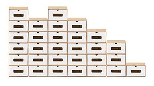 BigDean 30x Schuhaufbewahrung BRAUN/Weiss mit Sichtfenster Aufbewahrungsbox Stapelbar Storage Box Schuhbox Schuhkarton Schuhschachtel Allzweckbox Schublade Pappe aus Kraftpapier