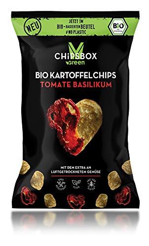 Höhle der Löwen myCHIPSBOX Bio Kartoffelchips TOMATE & BASILIKUM, 12er Set, Plastikfreie Verpackung (12 x 90g)