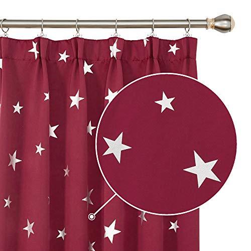 Deconovo Tende Oscuranti Termiche Isolanti per Camera da Letto Stelle Stampate 132x242cm Rosso 2 Pannelli