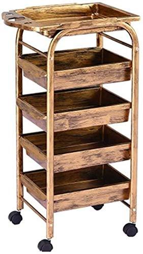 Elise 5 dieren retro kapperswagen 4 laden houten spiegelkast metalen houder solide veiligheid sterke belastbaarheid goud 35 * 30 * 80 cm, brakewheel35 * 30 * 80cmD4