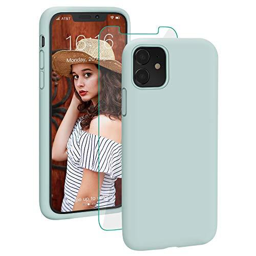 ProBien Hülle für iPhone 11,iPhone 11 Premium Silikon Handyhülle mit Panzerglas,Schutz vor Stoßfest/Kratzfest Schutzhülle Bumper Case Cover für iPhone 11 (6,1 Zoll)-Mint