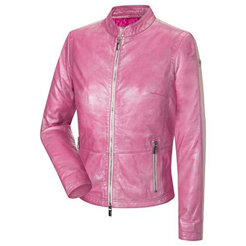 MILESTONE Lipsi Damen Lederjacke Lammnappa Leder Metallic-Look (36, Pink)