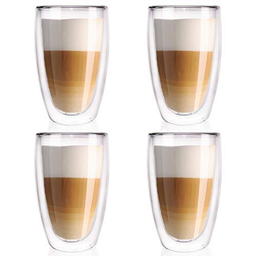 ORION GROUP - Juego de 4 Vasos térmicos de Doble Pared para café, café o té (450 ml)
