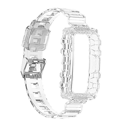 Sharplace Correa de Repuesto Transparente de 21 Mm para Band 6, Silicona Suave, Impermeable, Deporte, Liberación Rápida, Accesorios de Reloj Inteligente - Blanco