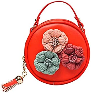 YKDY Shoulder Bag Children Tassel Circle-Shape Floral Handbag Girls Shoulder Bag Mini Messenger Bags(Black) (Color : Red)