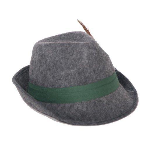 Chapeau de chasseur avec plumes, gris, chapeau de Tyrol, de soirée, fête d'octobre, Chapeau Bavarois