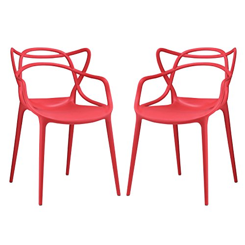 Modway Entangled Modern Molded Plastic Two Dining Armchairs in Red
