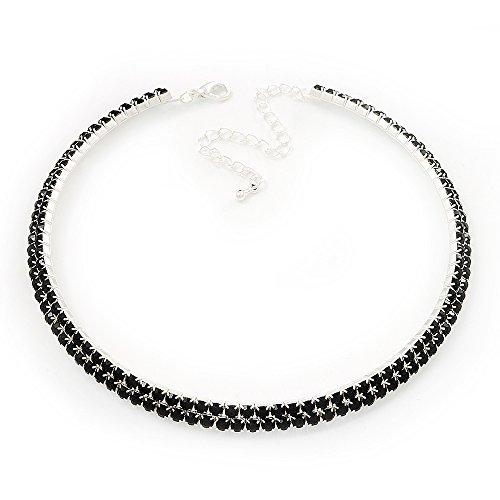 2-Row Jet Black Swarovski Crystal Choker Necklace (Silver Plated) by Avalaya