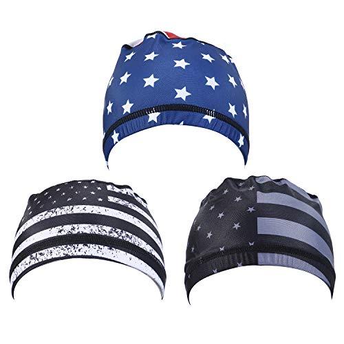 Warmshine 3er-Pack Laufmütze, Radkappen, Skull Caps, Helm, Liner, schweißabsorbierender Helm, Liner für Damen und Herren