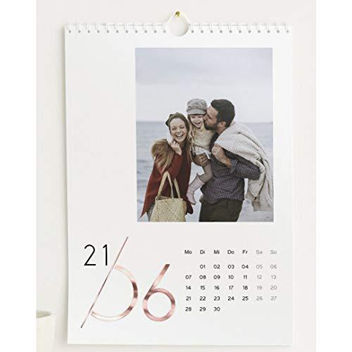 Fotokalender 2021 mit Veredelung in Roségold, Jahreskalender, Wandkalender mit persönlichen Bildern, Kalender für Digitale Fotos, Spiralbindung, DIN A4 Hochformat
