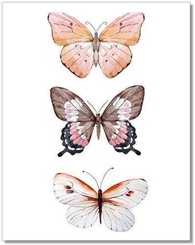 Butterfly Wall Art - Pink Butterflies Decor - Watercolor Art Print - 11x14 – Unframed