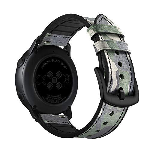 HappyTop Camouflage Lederarmband kompatibel für Samsung Galaxy Watch Active Armband Casual Band, Unisex, Tarnfarbe