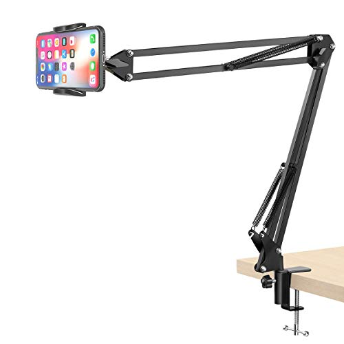 Klsniur Cell Phone Holder, Universal Phone Stand Clip Lazy Bracket Flexible Articulating Arm Phone Mount Compatible with iPhone 11 Pro Xs Max XR X 8 7 6 6s Plus, Samsung S10 S9 S8 S7 S6 (Black)