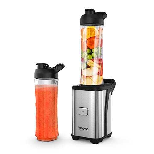 homgeek Personal Mini Blender Smoothie Maker for Juice Shakes and Smoothie,Portable Small Countertop Mixer with 600ml Travel Sport Bottle, 300W