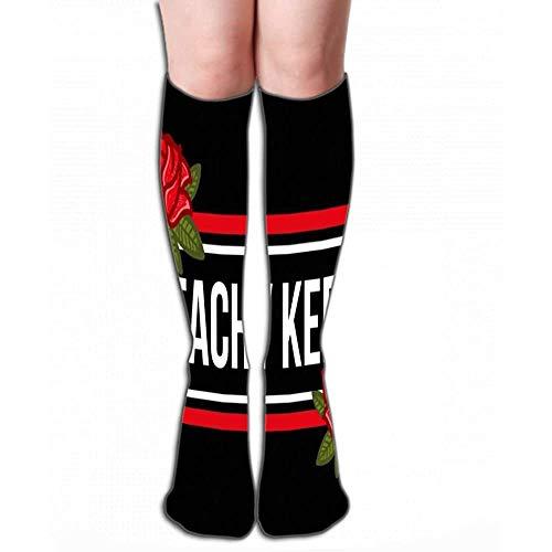NGMADOIAN Vrouwen meisjes nieuw over kuit knie hoge sokken grappige laarzen sokken 50 cm mode moderne grafische print kleding belettering p