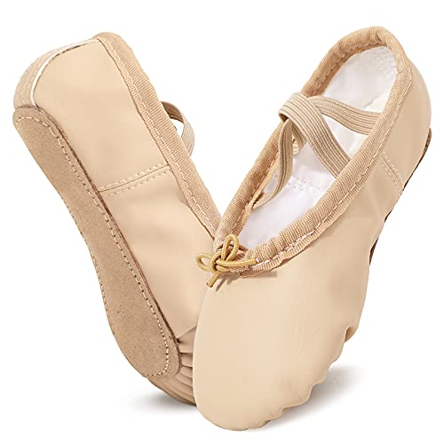 Zapatillas de Danza Niña Cuero Zapatillas de Ballet Suela de Cuero Entera para Niña y Mujer (23-40 EU)