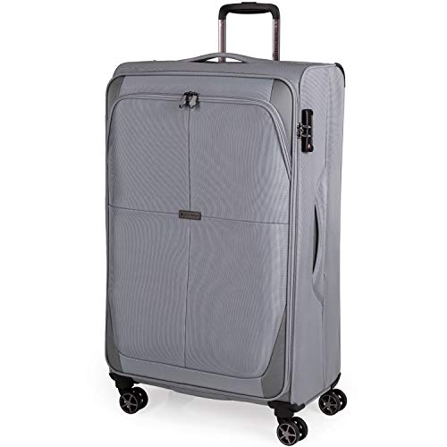 Soft Shell 31 Inch Suitcase with x4 Spinner Wheels - Cion Soft Case by Pierre Cardin | Quality Tested Soft Sided Luggage | Weighing 2.9 Kg 79cm Large 81 litres Cap CL610 (Grey, Large)