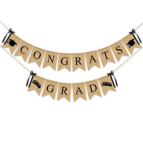 CAVLA Congrats Grad Burlap Banner Jute Graduation Banner Garland with Graduation Cap Diploma Signs and Bows Graduation Decorations for College Senior High School Grad Party Decor Supplies
