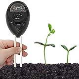 Tester 3 in 1 per il terreno, misuratore di umidità del suolo, misuratore di umidità, luce solare, pH per terriccio, giardino, fattoria, prati, interni ed esterni, senza batterie (nero)
