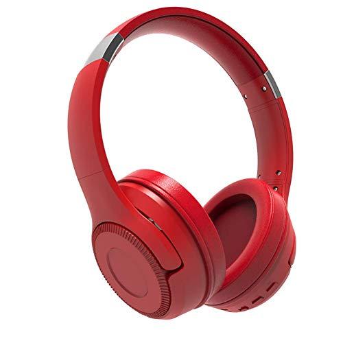 Auriculares inalámbricos NLRHH, estéreo, de alta fidelidad, plegables, inalámbricos, con cable, micrófono y tarjeta Tf-compatible para PC, ordenador portátil, TV (color: rojo)