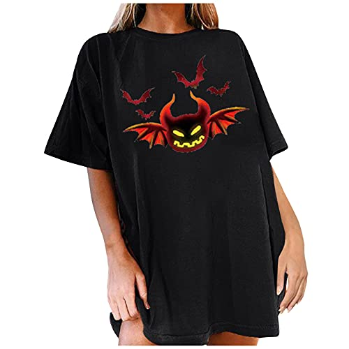 Tops Damen Halloween Lose Bluse Rundhals Kurzarm Halloween Print T-Shirt Damen Sexy Costumes for Women Kleid Damen Set Hoodie Kostüm Alien Halloween Snacks Oberteil