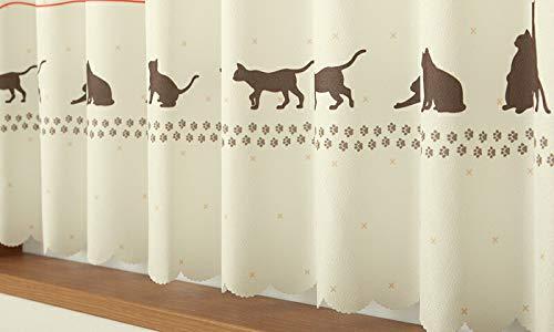 カフェカーテンはっ水加工外から見えないお風呂などで2490ネコ柄プリント幅145x丈100cm1枚入在庫品