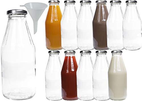 mikken Lot de 12 bouteilles en verre avec bouchon à vis Argenté 500 ml