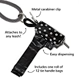 Doggie Walk Bags Dog Poop Bag Holder for Leash, Dog Waste Bag Dispenser with Metal Clip and Adjustable Strap for Any Leash, Paw Print, Fits Tie Handle Bags, Black (DB1-BLKSQP)