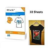 10 hojas de papel de transferencia de camisetas oscuras para impresoras, tamaño 8.5 x 11 pulgadas, papel A4