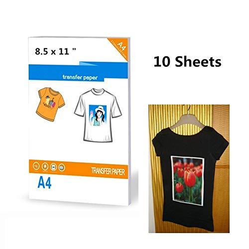 10 hojas papel transferencia camisetas oscuras impresoras