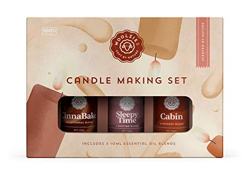 Woolzies 100% Pure Candle Making DIY Scenting Essential Oil Blend Gift Set | Natural Therapeutic Grade Aromatherapy | Kit Incl. CinnaBake, Sleepy Time, Cabin Oils| For Diffuse/Topical.