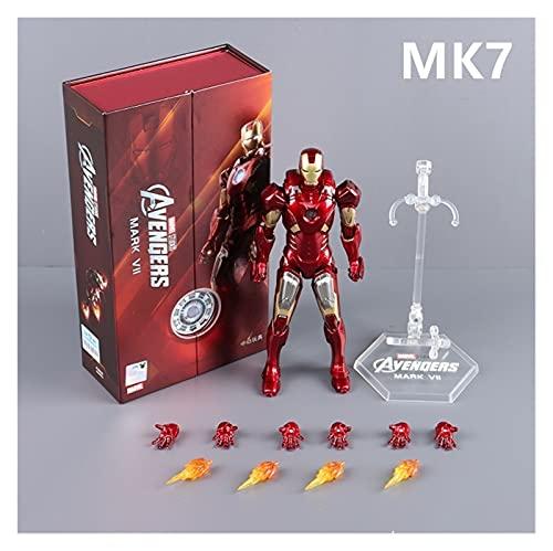 """JSJJAUA Figura de acción 18cm Hero Iron Man 7"""" Mark VII Mark 7 Modelo de Armadura 1:10 Textura de Metal. Abdominales Material MK7 Modelo de Figura de acción muñeca (Color : MK7 with Box, Size : 18CM)"""